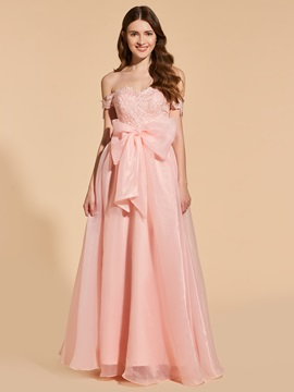 A-Line Off-the-Shoulder Appliques Bowknot Prom Dress & Prom Dresses under 500