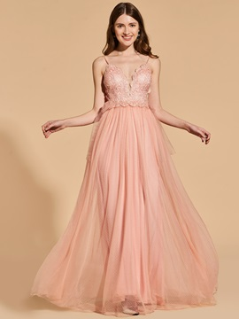 A-Line Spaghetti Straps Empire Prom Dress
