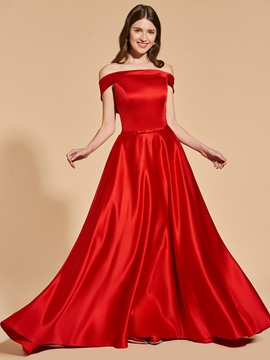 A-Line Off-the-Shoulder Empire Prom Dress
