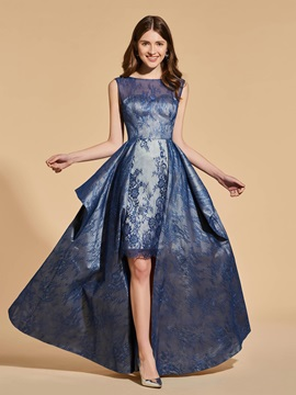 A-Line Lace High Low Scoop Prom Dress