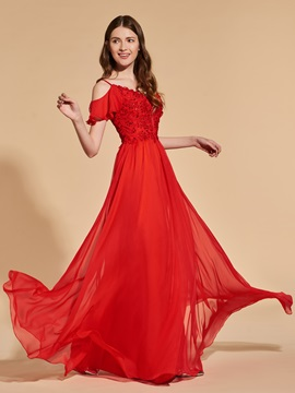 Appliques Beading Cold Shoulder Red Prom Dress