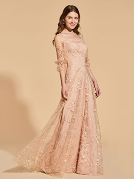 A-Line Half Sleeves Off-the-Shoulder Lace Prom Dress