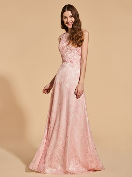 A-Line Scoop Lace Beading Button Prom Dress