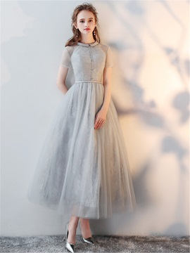 A-Line Lace High Neck Prom Dress