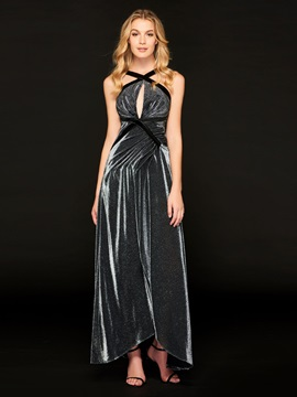 A-Line Straps Pleats Backless Prom Dress