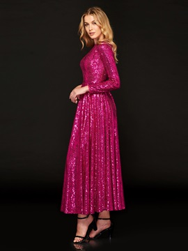 Jewel Neck Long Sleeves Sequins Prom Dress