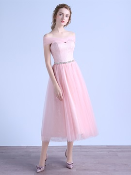 A-Line Beading Bowknot Sashes Prom Dress