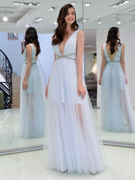 A-Line V-Neck Beading Hollow Ruffles Prom Dress