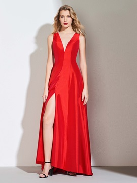 A-Line V-Neck Split-Front Prom Dress
