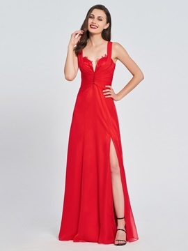 A-Line Straps Split-Front Beading Prom Dress