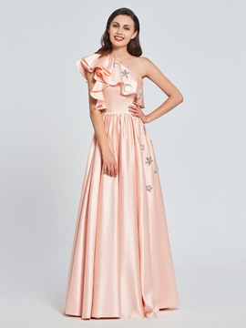 One-Shoulder A-Line Appliques Ruffles Prom Dress