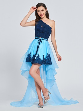 A-Line One-Shoulder Beading Lace Sashes Prom Dress