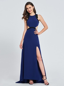 Jewel A-Line Split-Front Hollow Prom Dress