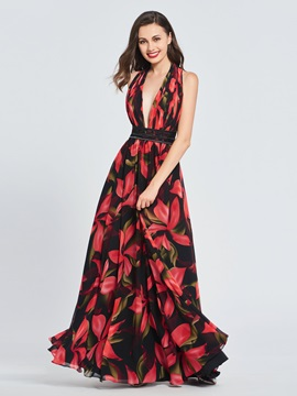 A-Line Halter Printed Prom Dress