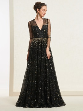 Star Sequins Long Sleeves Black Prom Dress & fairytale Prom Dresses
