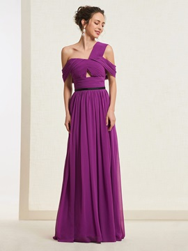 One Shoulder A-Line Floor-Length Prom Dress