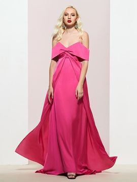 Pick-Ups A-Line Off-The-Shoulder Floor-Length Prom Dress