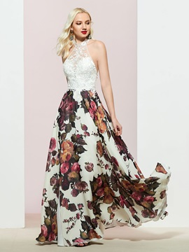 Sleeveless Floor-Length Print Halter Prom Dress