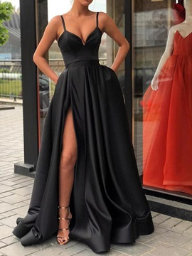 A-Line Spaghetti Straps Split-Front Black Prom Dress 2019 & modest Prom Dresses