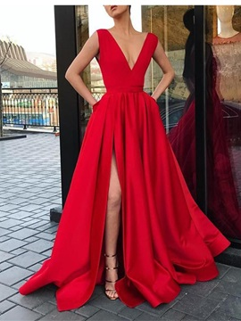 V-Neck Split-Front Pockets A-Line Prom Dress 2019