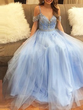 Floor-Length Sleeveless Spaghetti Straps Prom Dress