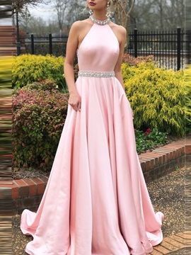Floor-Length Jewel A-Line Sweep Train Prom Dress
