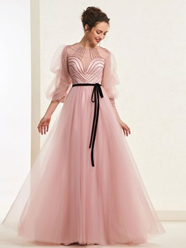 Jewel Neck Beading Half Sleeves Prom Dress 2019