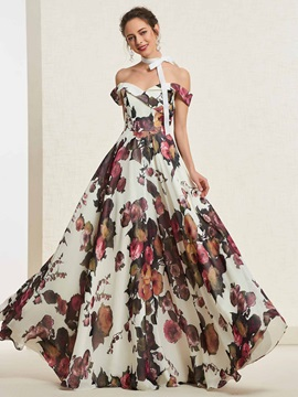 Off-The-Shoulder A-Line Floor-Length Sleeveless Prom Dress 2019