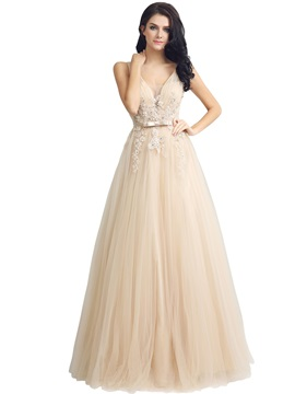 V-Neck Sleeveless Appliques Floor-Length Prom Dress 2019