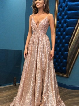 Shiny A-Line V-Neck Sequins Prom Dress 2019