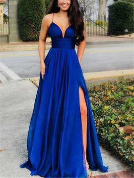 A-Line Spaghetti Straps Split-Front Prom Dress 2019