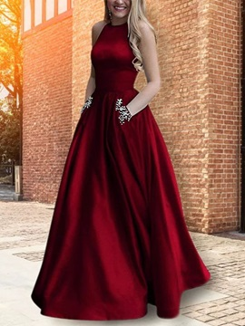A-Line Sleeveless Beading Floor-Length Graduation Dress 2019