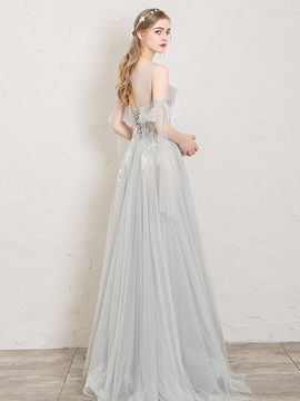Scoop Floor-Length Beading Sleeveless Prom Dress 2019