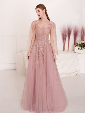 A-Line Pick-Ups Sleeveless Floor-Length Prom Dress 2019