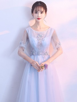 3/4 Length Sleeves Floor-Length Scoop A-Line Prom Dress 2019