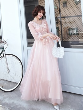 Appliques A-Line Floor-Length 3/4 Length Sleeves Prom Dress 2019