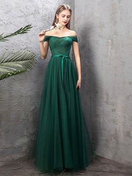 Off-The-Shoulder A-Line Pick-Ups Floor-Length Prom Dress 2019