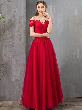 A-Line Scoop Short Sleeves Floor-Length Prom Dress 2019