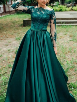 A-Line Appliques Long Sleeves Prom Dress 2019
