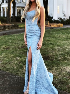 Mermaid Spaghetti Straps Lace Evening Dress 2019