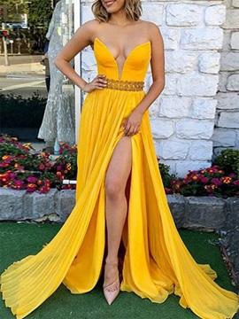A-Line V-Neck Beading Split-Front Prom Dress 2020