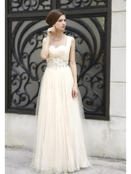 Attractive A-Line Sweetheart Empire Waist Crystal Long Prom Dress & Prom Dresses online