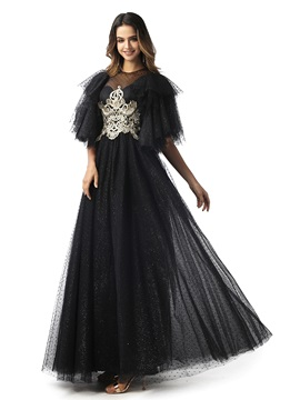 Short Sleeves Embroidery Lace Black Evening Dress 2020 & affordable Prom Dresses