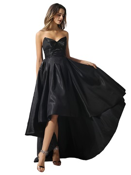 Sweetheart Pleats Asymmetry Black Prom Dress 2020