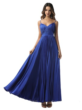 Spaghetti Straps A-Line Pleats Prom Dress 2020
