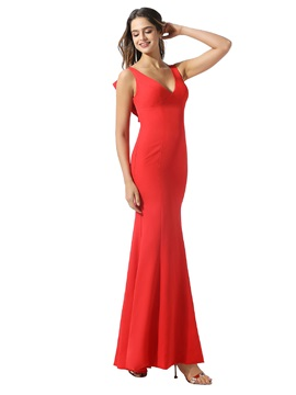 Hollow Back Straps V-Neck Bridesmaid Dress 2020