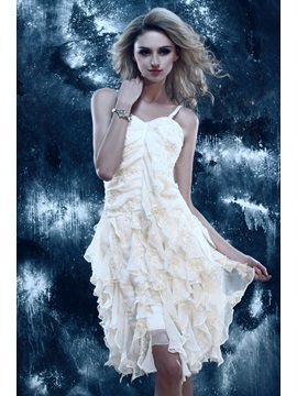 Modern Spaghetti Straps Appliques Cascading Ruffles Short-Length Dasha's Homecoming Dress & Homecoming Dresses on sale