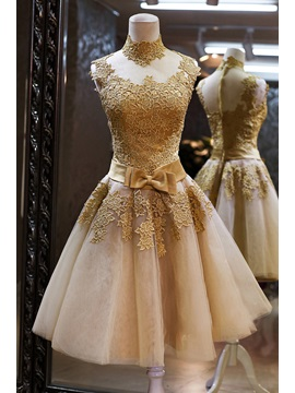 Vintage High Neck Bowknot Lace A-Line Homecoming Dress & vintage style Homecoming Dresses