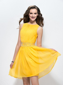 A-Line Jewel Neckline Ruched Beading Short Homecoming Dress & Homecoming Dresses under 100