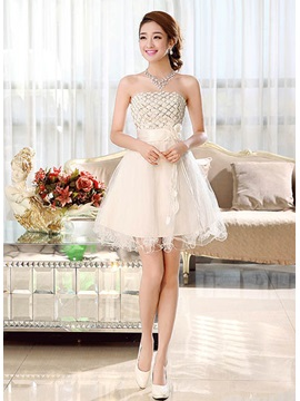 Pretty A-Line Strapless Flowers Lace-up Short-Length Sweet 16 Dress & Homecoming Dresses for less